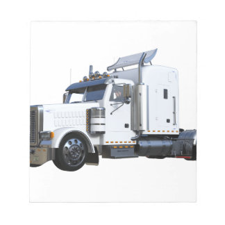 White Semi Tractor Trailer Notepad