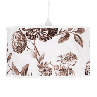 White & Sepia Brown Vintage Botanical Floral Toile Pendant Lamp