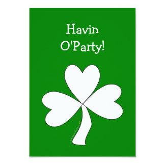 White Shamrock St. Patrick's Day Irish Good Luck Card