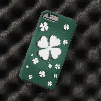 White shamrocks on green background tough iPhone 6 case