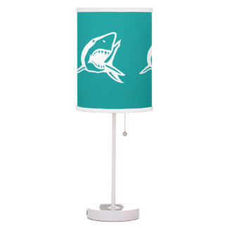 White Shark on aqua teal blue background Table Lamp