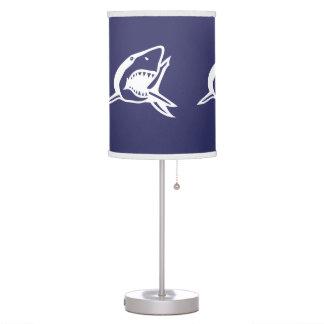 White Shark on blue background Table Lamp