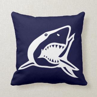 white  shark on navyl blue pillow