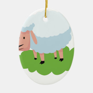 white sheep and shaun the sheep ceramic ornament