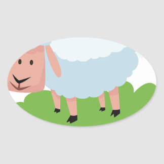 white sheep and shaun the sheep oval sticker
