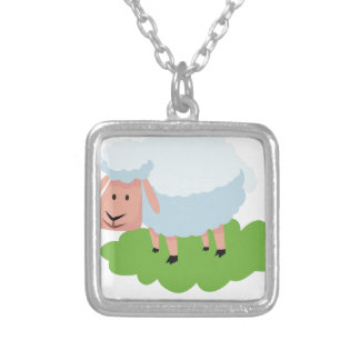 white sheep and shaun the sheep silver plated necklace