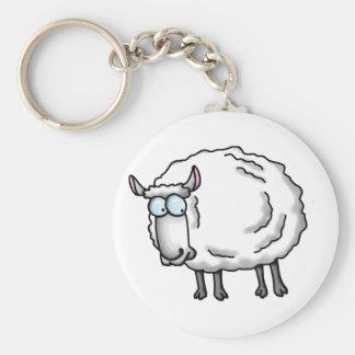 White sheep basic round button keychain