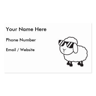 White Sheep in Sunglasses Cartoon Business Card Template