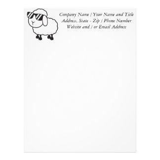 White Sheep in Sunglasses Cartoon Letterhead
