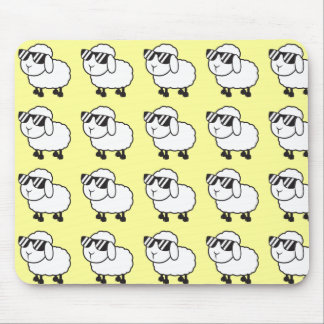 White Sheep in Sunglasses Cartoon Mousepads
