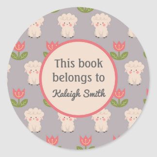 White Sheep Pink Flowers on Gray  Book Name Plate Classic Round Sticker