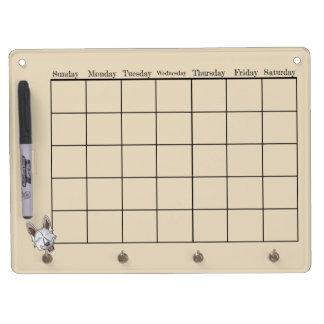 White Shepherd Dog Calendar Dry Erase Board With Keychain Holder
