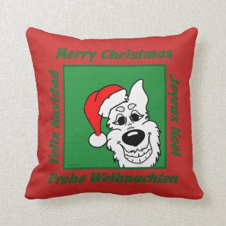 White shepherd dog Christmas Throw Pillow