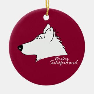 White shepherd dog head silhouette ceramic ornament