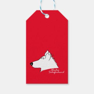 White shepherd dog head silhouette gift tags