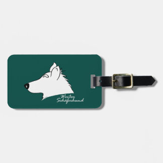White shepherd dog head silhouette luggage tag