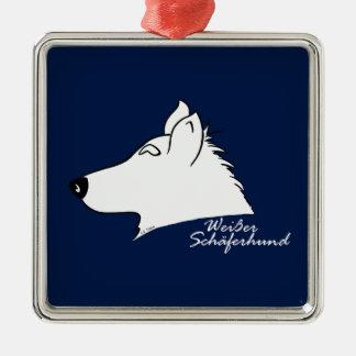 White shepherd dog head silhouette Silver-Colored square ornament