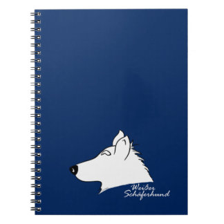 White shepherd dog head silhouette spiral notebook
