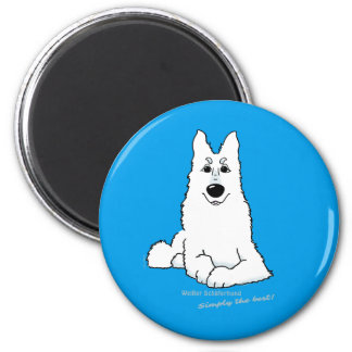 White shepherd dog lying 2 inch round magnet