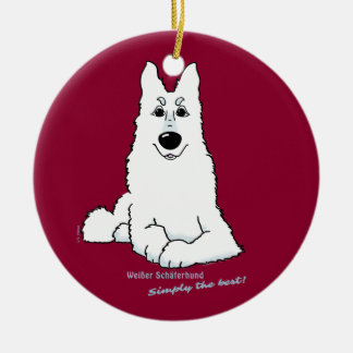White shepherd dog lying ceramic ornament