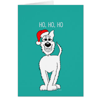 White shepherd dog Santa Card
