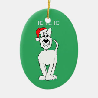White shepherd dog Santa Ceramic Ornament