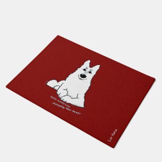 White shepherd dog - simply the best doormat