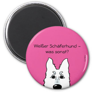 White shepherd dog - which otherwise? 2 inch round magnet