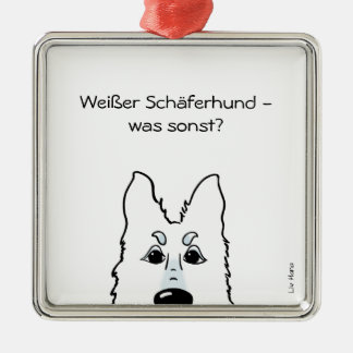 White shepherd dog - which otherwise? Silver-Colored square ornament