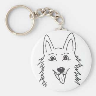 White Shepherd hand-lettered Basic Round Button Keychain