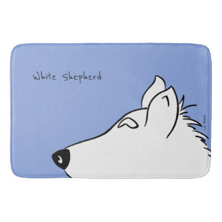 White Shepherd Head Bath Mat