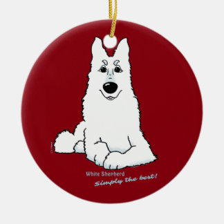 White Shepherd lying Round Ceramic Ornament
