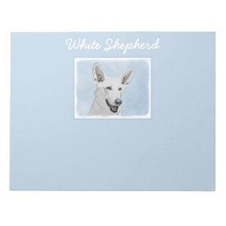 White Shepherd Painting - Cute Original Dog Art Notepad