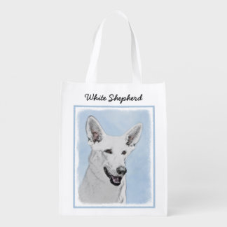 White Shepherd Painting - Cute Original Dog Art Reusable Grocery Bag