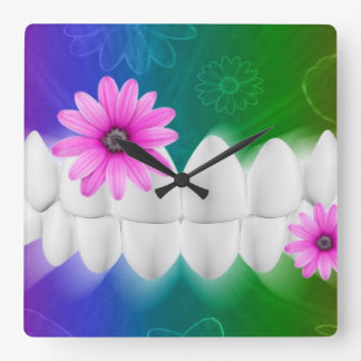 White Shiny Teeth Dentist Wall Clock