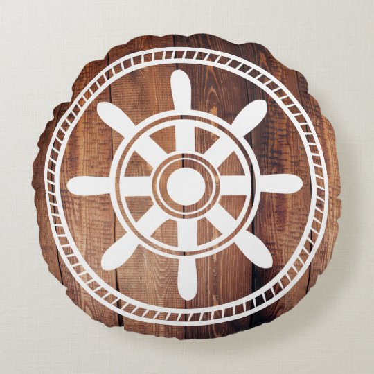White Ship Wheel Nautical Wood Planks Round Pillow