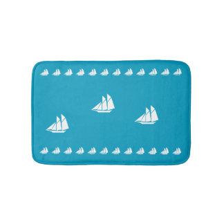 White Ships Bath Mat