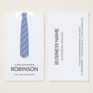 White Shirt and Custom Colour Blue Tie Accountant Business Card