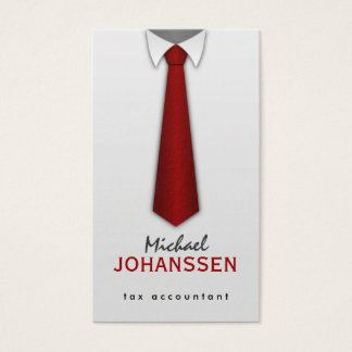 White Shirt Red Tie Accountant Business Cards