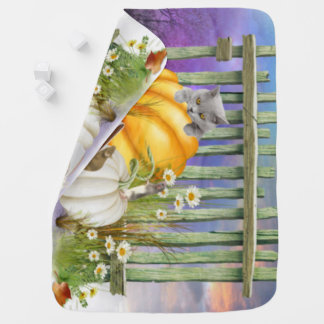 White Shoe Lost in the Pumpkin Patch Collage Baby Blanket