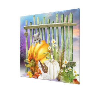 White Shoe Lost in the Pumpkin Patch Collage Canvas Print