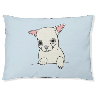 White Short Haired Chihuahua Bed, Blue Pet Bed