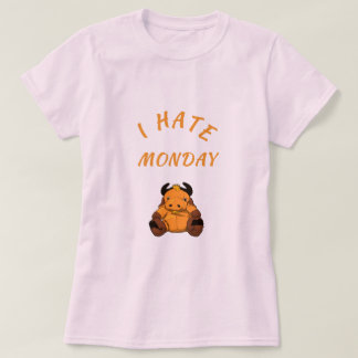 "white short-poor ladies T-shirt ""i hate monday """