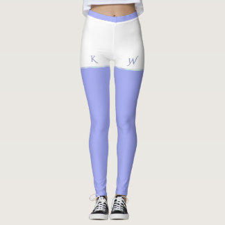 White Shorts on Lavender with Initials Leggings