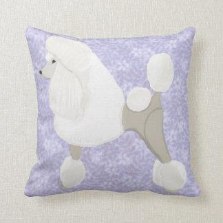 White Show Poodle Throw Pillow