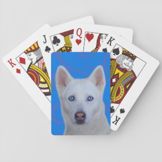 White Siberian Husky Standard Playing Cards