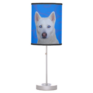 White Siberian Husky Table Lamp