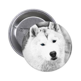 White Siberian Husky w/ Blue Eyes Fine Art Sketch 2 Inch Round Button