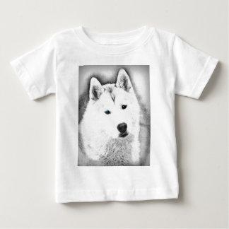 White Siberian Husky w/ Blue Eyes Fine Art Sketch Baby T-Shirt