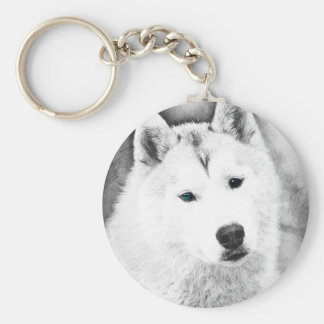 White Siberian Husky w/ Blue Eyes Fine Art Sketch Basic Round Button Keychain